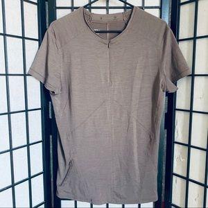 Nau brown short sleeve merino wool 1/4 zip top L